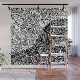Modern black white color block inverted mandala floral hand drawn illustration Wall Mural