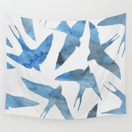 Watercolor birds - sapphire ink Wall Tapestry