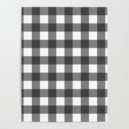 Black and white Buffalo Plaid Poster