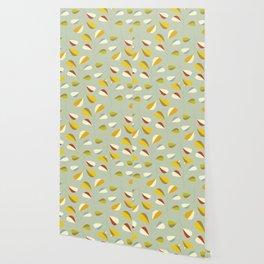 Mid Century Modern Graphic Leaves Pattern 1. Vintage green Wallpaper