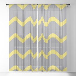 Soft Rippled Horizontal Line Pattern Pantone 2021 Color Of The Year Illuminating and Ultimate Gray  Sheer Curtain