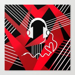 Red Love Gamer Headset Canvas Print