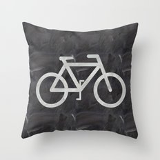 Bicycle on chalkboard Throw Pillow