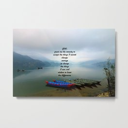 Serenity Prayer With Phewa Lake Panoramic View Metal Print