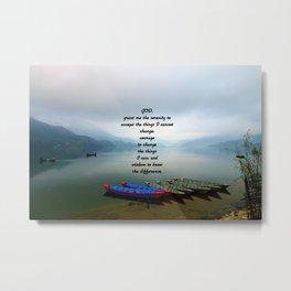 Serenity Prayer With Phewa Lake Panoramic View Metal Print