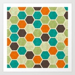 retro  vintage geometric  brown mint green orange turquoise teal honeycomb pattern Art Print