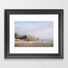Rural scene covered in a thick hoar frost. Norfolk, UK. Framed Art Print