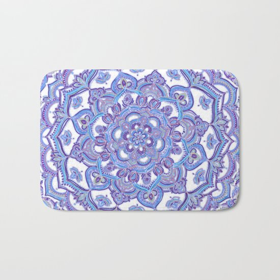 Lilac Spring Mandala - floral doodle pattern in purple & white Bath Mat