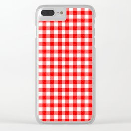 Gingham Red and White Pattern Clear iPhone Case