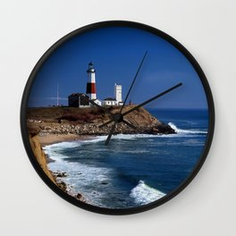 Crispy Morning at Montauk Point Lighthouse Long Island New York Wall Clock