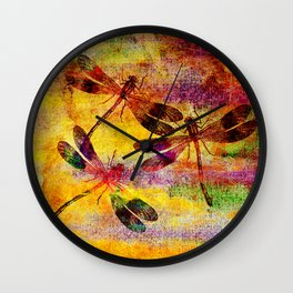 Mauritius Vintage Dragonflies Colours Wall Clock