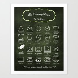 The Laundry Room Fabric Care Guide - Green Art Print