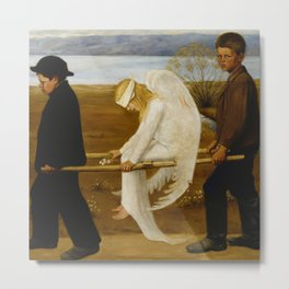1903 Classical Masterpiece 'The Wounded Angel' by Hugo Simberg Metal Print