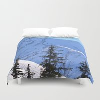 skiing Duvet Covers featuring Back-Country Skiing  - V by Alaskan Momma Bear