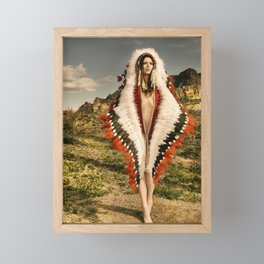 2714 Adorned Feathered Nude ~ SurXposed ~ Classy Girl in Indian Headdress Costume Framed Mini Art Print