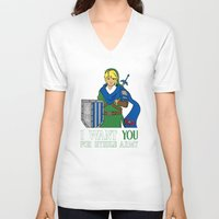 hyrule V-neck T-shirts featuring Hyrule Recruitment by PeterParkerPA