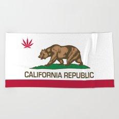 California Republic state flag with red Cannabis leaf Beach Towel