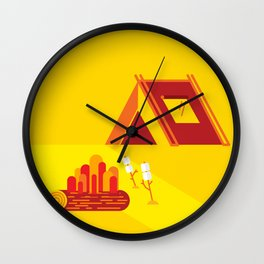 Camping in Yellow Wall Clock