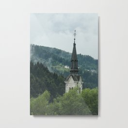 Church Steeple in the Fog Metal Print