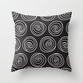 Hand Drawn Spirals Pattern (black) Throw Pillow