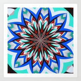 Iznik Style Red Turkish Tulips Kaleidoscope Art Print