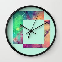 decal Wall Clocks featuring Space Decal by artii