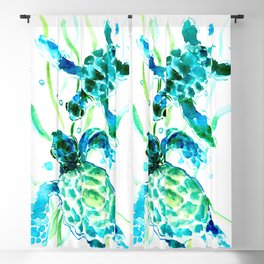 Sea Turtles, Turquoise blue Design Blackout Curtain