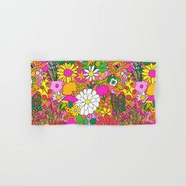 60's Groovy Garden in Neon Peach Coral Hand & Bath Towel