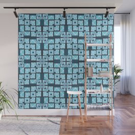 Structured Elegance Blue Grey Squares Geometric Print Wall Mural