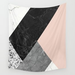 Black and White Marbles and Pantone Pale Dogwood Color Wall Tapestry