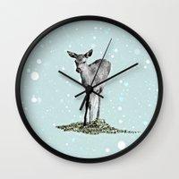 bambi Wall Clocks featuring Bambi by Monika Strigel