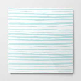 Handmade aqua turquoise Stripes on white - Maritime pattern Metal Print