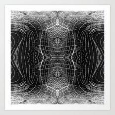 black & white waves Art Print
