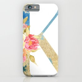 Initial floral letter K iPhone Case