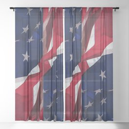 RED, WHITE AND BLUE Sheer Curtain