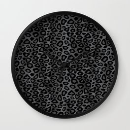 Gray and Black Exotic Leopard Animal Pattern Wall Clock