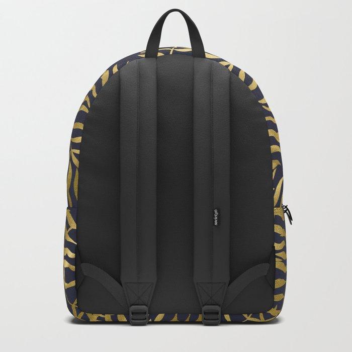 Gold Leaves on Navy Blue Backpack