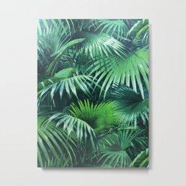 Tropical Botanic Jungle Garden Palm Leaf Green Metal Print