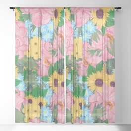 Trendy Pink Peonies Yellow Sunflowers Watercolor paint Sheer Curtain