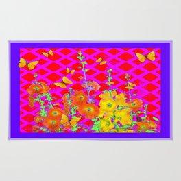 Orange-Yellow Hollyhocks & Yellow Butterflies Lilac-fuchsia Color Art Rug