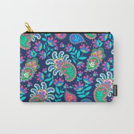 Pretty Bohemian Paisley Navy Green Turquoise and Pink Carry-All Pouch