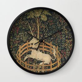 The Unicorn Rests in a Garden (from the Unicorn Tapestries) Wall Clock