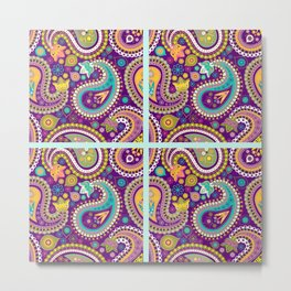 Checkered background with paisley pattern Metal Print