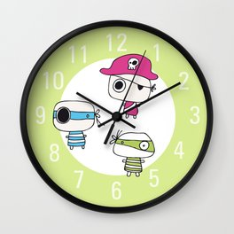 Three Pastelly Pirates Wall Clock