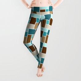 Mid Century Modern Color Blocks // Caribbean Blue, Ocean Blue, Dark Brown, Coffee Brown, Khaki Leggings