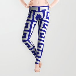 Greek Key (Navy Blue & White Pattern) Leggings
