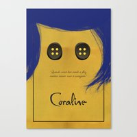 coraline Canvas Prints featuring Coraline Cartaz by Jean Michell