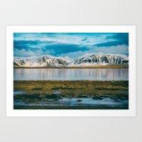 Iceland Mountains over Frozen Lake Art Print