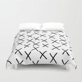 X - cross, plus, black and white, hand-drawn, graphic, bold, modern monochrome minimal design Duvet Cover