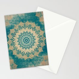 GOLD BOHOCHIC MANDALA IN GREENS Stationery Cards